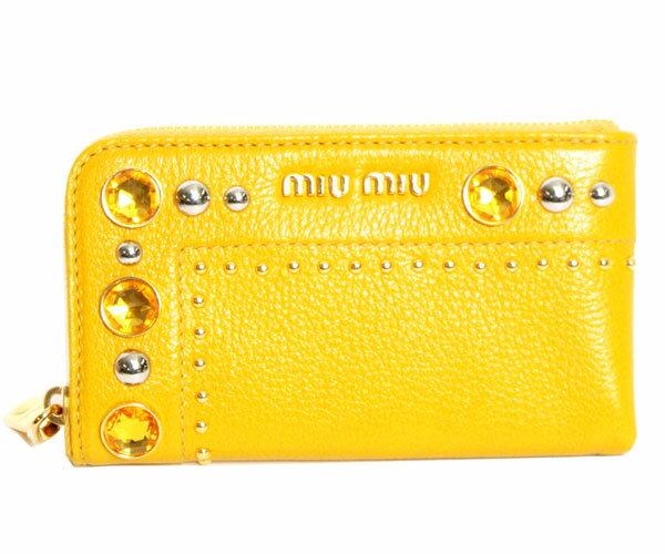 【送料無料】【新品】miu miu ミュウミュウ ポーチ iphoneケース MADRAS CRISTAL マドラスクリスタル 5ARE99 2A2S F065Y SOLEIL イエロー