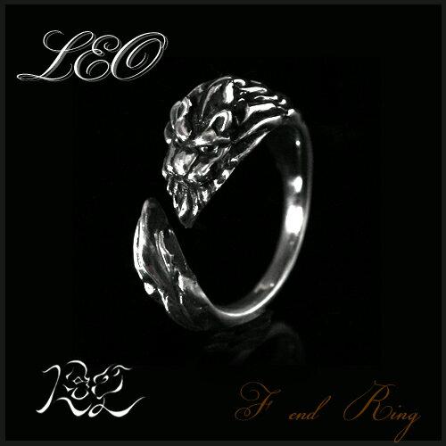 シルバー925 ライオン獅子のF ENDリング 送料無料 LEOレオ