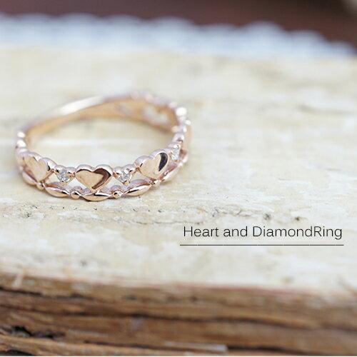 K10ピンクゴールド ダイアモンド 小さいハートとダイヤを交互に並べた豪華なリング ダイヤモンド 送料無料 宝石鑑別カード付き