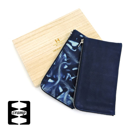 【Cramp】クランプ/池之端銀革店【SUKUMO Leather】藍染め L字ファスナーロングウォレット/長財布、藍染め、ジッパーロング/スクモレザー/スクモ/L字/
