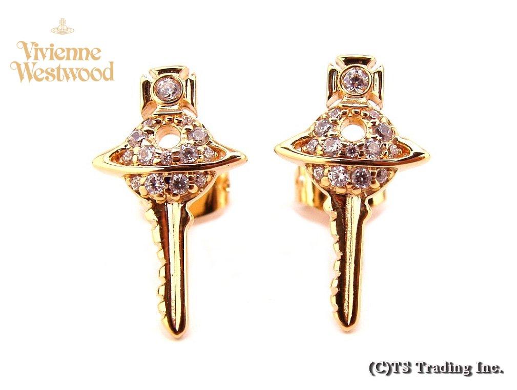 Vivienne Westwood ヴィヴィアンウエストウッド★Darianne Petite Key Pierced Earrings新作☆ダリアン プチ キー&オーブ ピアス (GOLD)【あす楽対応】【YDKG-k】【W3】【送料無料】【smtb-k】