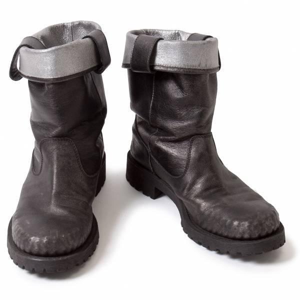 リミフゥLIMIfeu 光沢配色むら染め革ショートブーツ 黒グレーL(24位)【中古】
