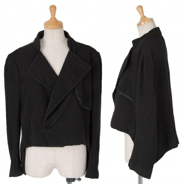 【SALE】ヨウジヤマモト ファム yohji yamamoto FEMME 縮絨ウールショートジャケット 黒2【中古】