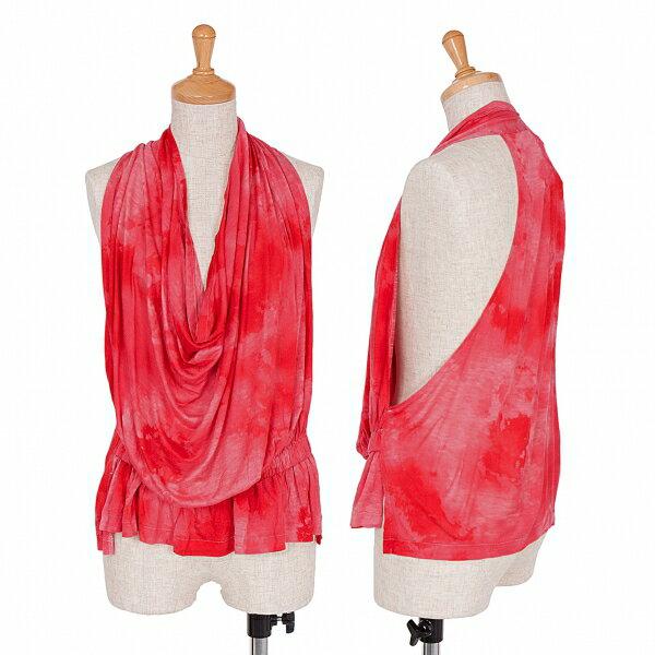 新品!リミフゥLIMIfeu ムラ染めプリント裾ゴムギャザーノースリーブ 赤ピンクS