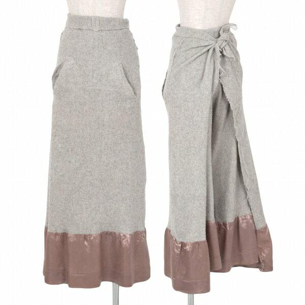 コムデギャルソンCOMME des GARCONS 縮絨ウール裾切替ラップスカートパンツ グレーS【中古】