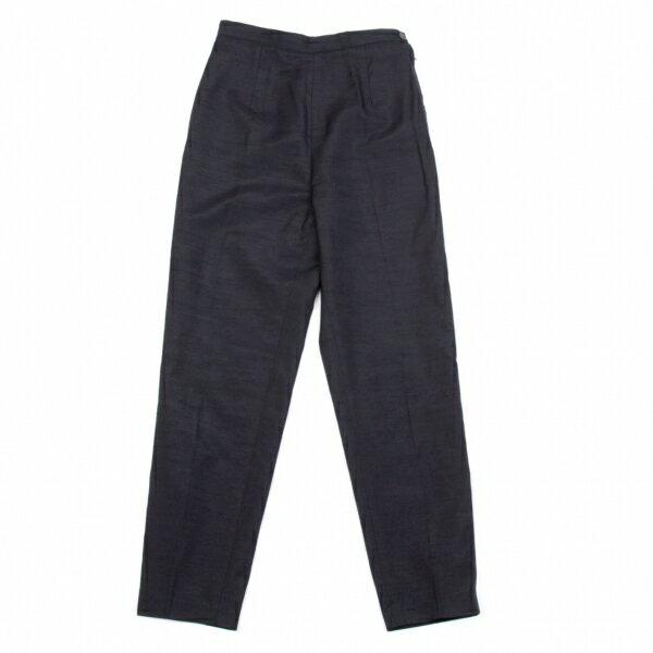 コムデギャルソンCOMME des GARCONS シルク混タックデザインパンツ 紺S【中古】