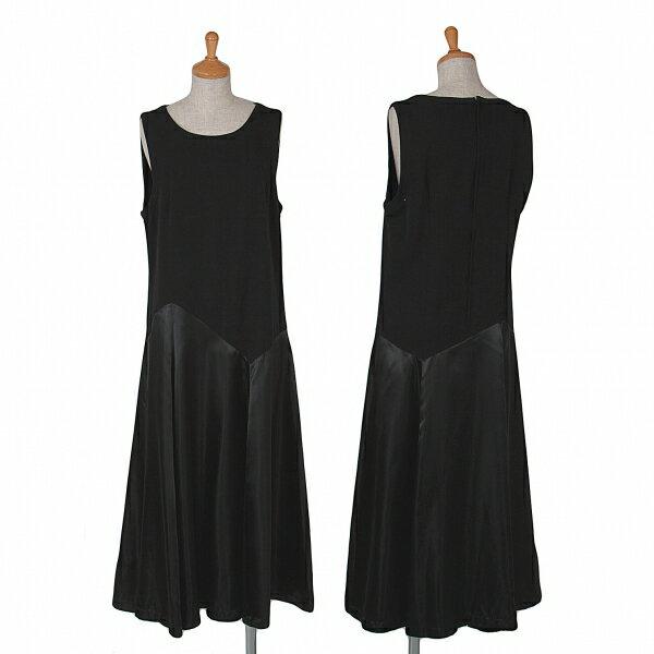 トリコ コムデギャルソンtricot COMME des GARCONS サテンスカート切替ノースリーブワンピース 黒M【中古】