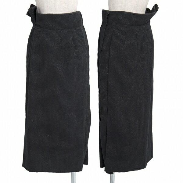 コムデギャルソンCOMME des GARCONS ウールポリラメストライプスカート 黒シルバーS【中古】