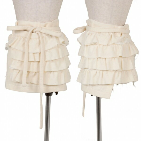 トリココムデギャルソンtricot COMME des GARCONS 製品洗いティアードラップスカート クリームM位【中古】