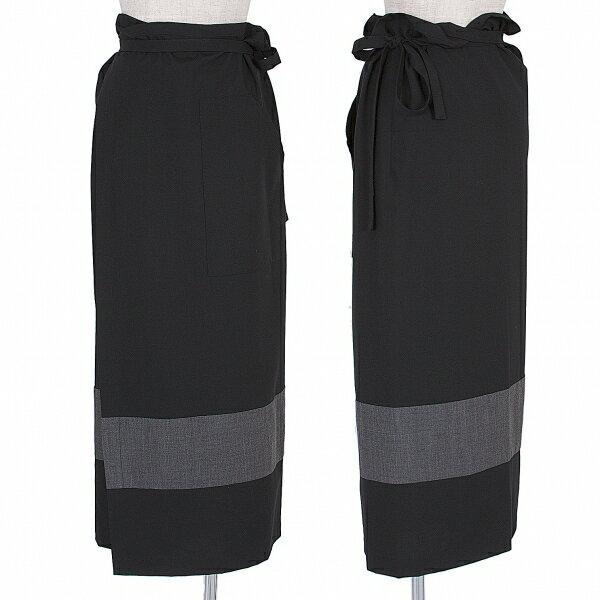 チャンスを逃さないように ワイズフォーリビングY's for living 切替ラップスカート 黒M位【中古】