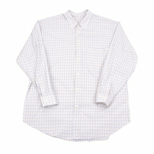 パパスPapas コットンチェックシャツ ベージュ水色カーキL【中古】