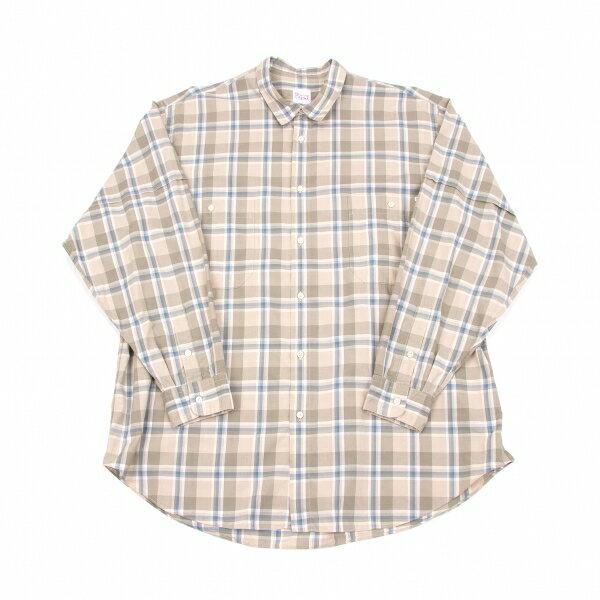 パパスPapas コットンチェックシャツ ベージュカーキ青白L【中古】