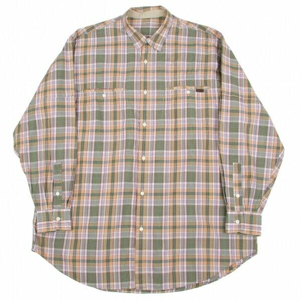 パパスPapas コットンチェックシャツ 緑エンジベージュ他L【中古】