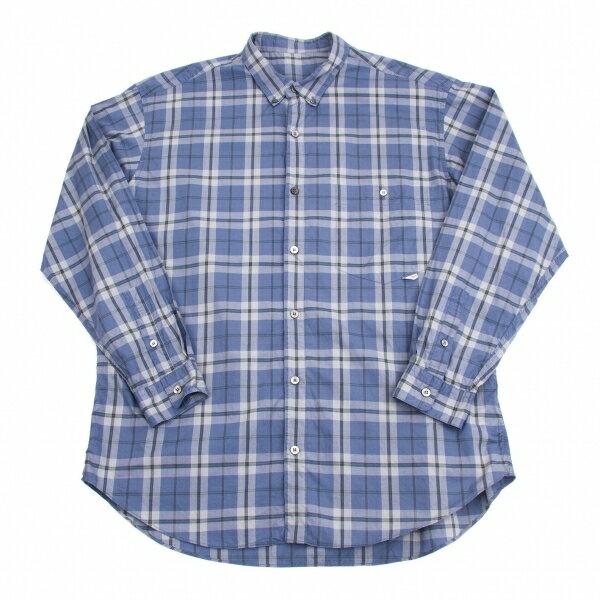 パパスPapas コットンチェックボタンダウンシャツ 青グレー水色黒L【中古】