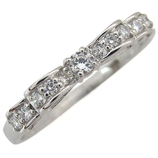 熱い販売のための 【送料無料】プラチナ・ダイヤモンド・指輪・リボン・リング・ピンキーリング【RCP】10P06Aug16
