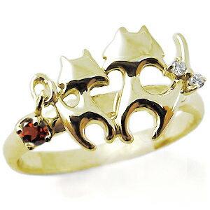 2016年新作 【送料無料】猫・指輪・選べる誕生石・リング・ネコ ・リング・18金【RCP】10P06Aug16