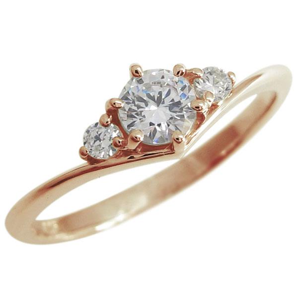【送料無料】ダイヤモンド V字 エンゲージ シンプル 婚約指輪 K18【RCP】10P06Aug16