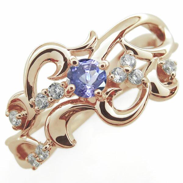 【送料無料】ブライダルリング 唐草 指輪 タンザナイト 結婚10周年 K18【RCP】10P06Aug16