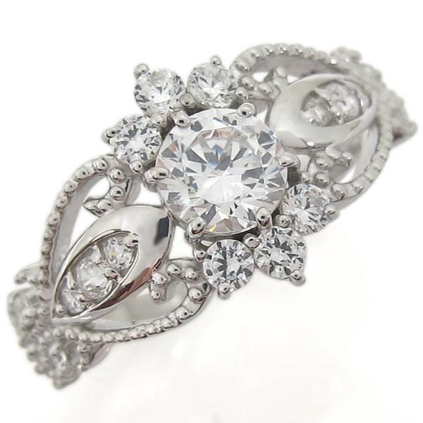【送料無料】プラチナ ダイヤモンド 指輪 アンティーク調 ミル打ち リング【RCP】10P06Aug16