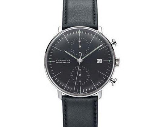 Max bill / マックスビル Chronoscope Watch Line Blackモデル027 4601.00 腕時計 デザイナーズウォッチ ユンハンス ドイツ 受注生産品 送料無料 カーフスキン 自動巻ムーブメントクロノグラフ日付カレンダー