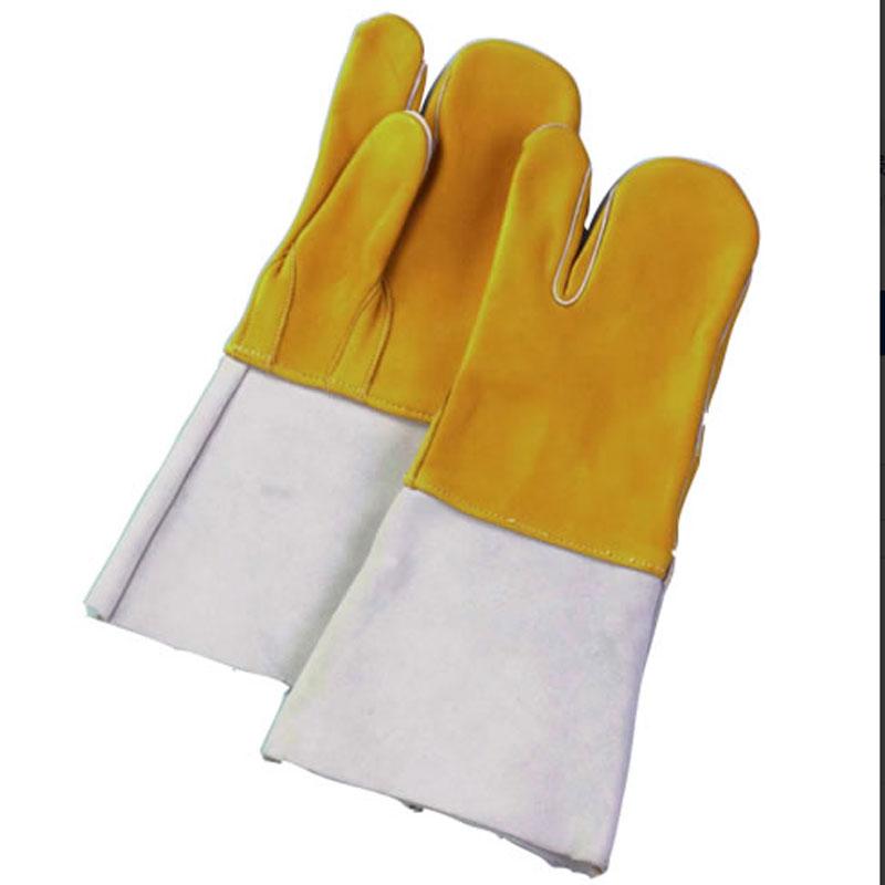 【60双】 牛床革 手袋 コンビ溶接 3本指 表革 溶接 作業用 革 皮 工場 現場 熱T 【代引不可】