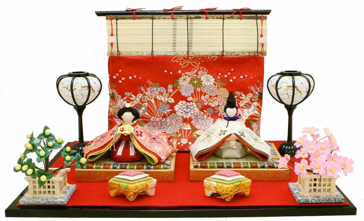 雛人形(ひな人形) 『きらら雛 几帳付』手作りちりめん細工 和雑貨 なごみ かわいい  コンパクト  リュウコドウ ひなまつり  【送料無料】