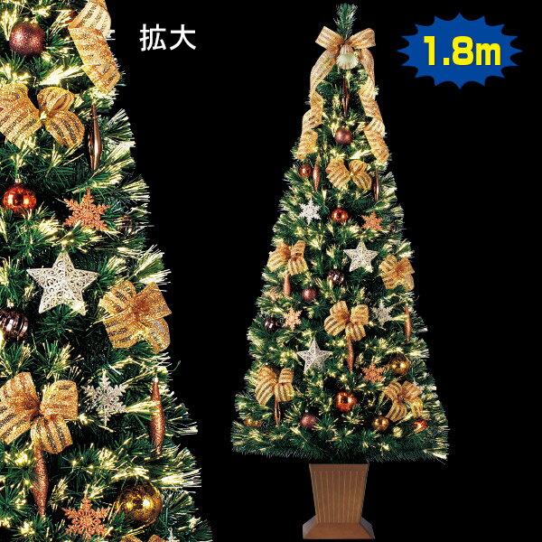 180cmスクエアベースファイバーツリーセット|クリスマスツリー(Xmasツリー)