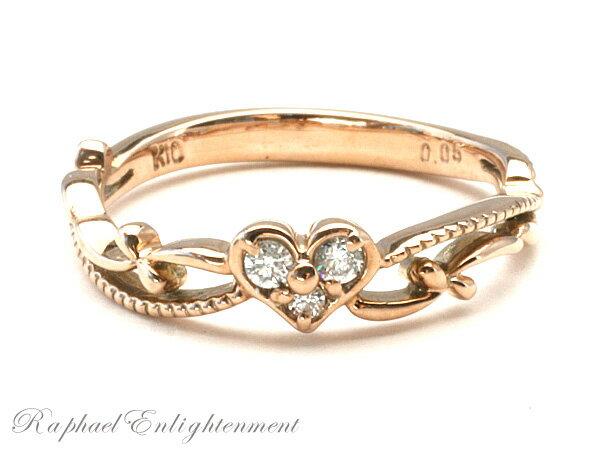 【永遠の幸せと出会うために】ダイヤモンド・K10PG・ハートのピンキーリング(1~8号) パワーストーン リング 指輪パワーストーン リング 指輪パワーストーン リング 指輪