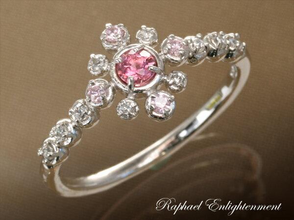 【あなたの恋に大輪の花が咲く!!】ピンクトルマリン・ジルコニア・シルバーリング(8~13号)パワーストーン リング 指輪