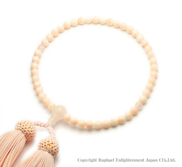 念珠(数珠)-珊瑚×紅水晶(ピンクコーラル×ローズクォーツ)