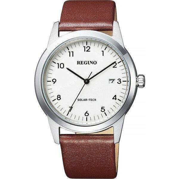 【送料無料】CITIZEN(シチズン) KM3-116-10 ホワイト×ブラウン レグノ ソーラーテック [ソーラー腕時計(メンズウオッチ)]
