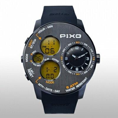 【PIXO 腕時計PIXO-5 GUN+YELLOW】飛行機の操作パネルから得たインスピレーションアウトドアに適した堅牢なデザイン[返品・交換・キャンセル不可]