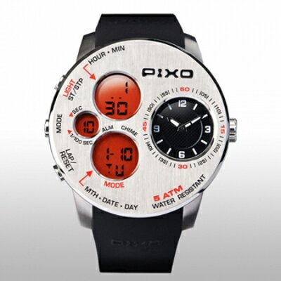 【PIXO 腕時計PIXO-5 STEEL+ORANGE】飛行機の操作パネルから得たインスピレーションアウトドアに適した堅牢なデザイン[返品・交換・キャンセル不可]