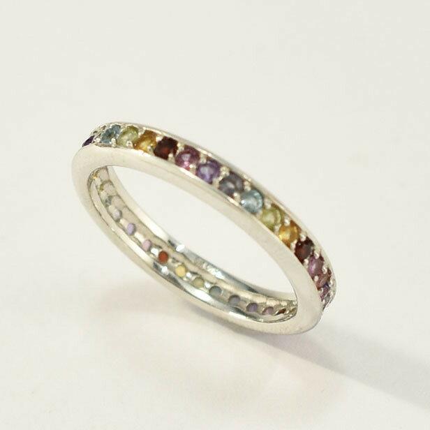 K10WG ホワイトゴールド セブンカラーリング 天然石  7石 ハーフエタニティ指輪 【送料無料】