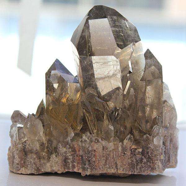 スモーキールチル クラスター01 (天然石 パワーストーン 原石 置物 置き物 一点物) メール便不可