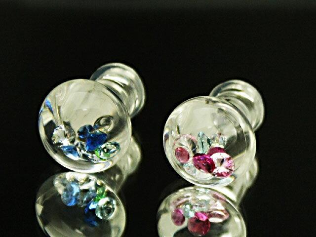 【ボディピアス】ガラスのボディピアス:ラウンドMプラグ2G(6ミリ)サイズ
