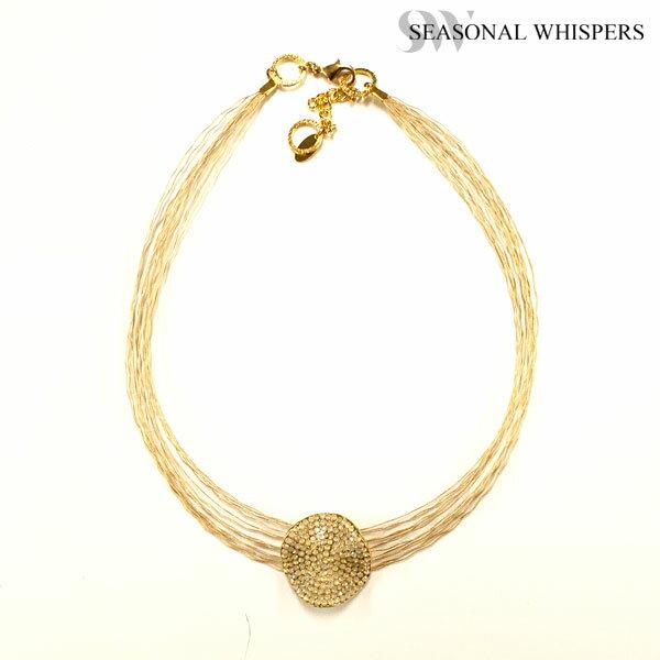SEASONAL WHISPERS シーズナルウィスパーズ ネックレス スワロフスキー ゴールド ワイヤー 7856