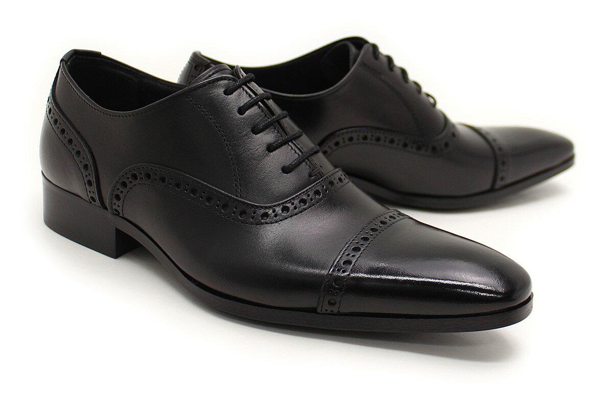 【送料無料】革靴 本革 ビジネスシューズ クインクラシコ Queen Classico メンズ ドレスシューズ 紳士靴 qc511bk ブラック(黒) パンチドキャップトゥ 日本製(国産)