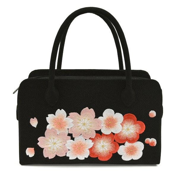 正絹和装バッグ ちりめん刺繍 さくら 黒 利休バッグ 振袖用 成人式