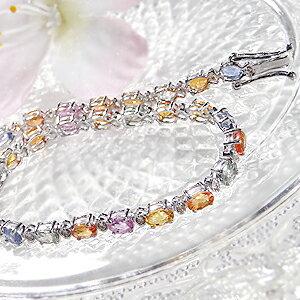 ファッション・アクセサリー・レディース・ブレスレット・ホワイトゴールド・ダイヤモンド・ダイヤ ブレス・カラーサファイヤ ブレス・9月誕生石・・プレゼント・ギフト・ジュエリーケース・品質保証書 K18WGカラーサファイア4ctアップ&ダイヤモンド0.30ctブレスレット
