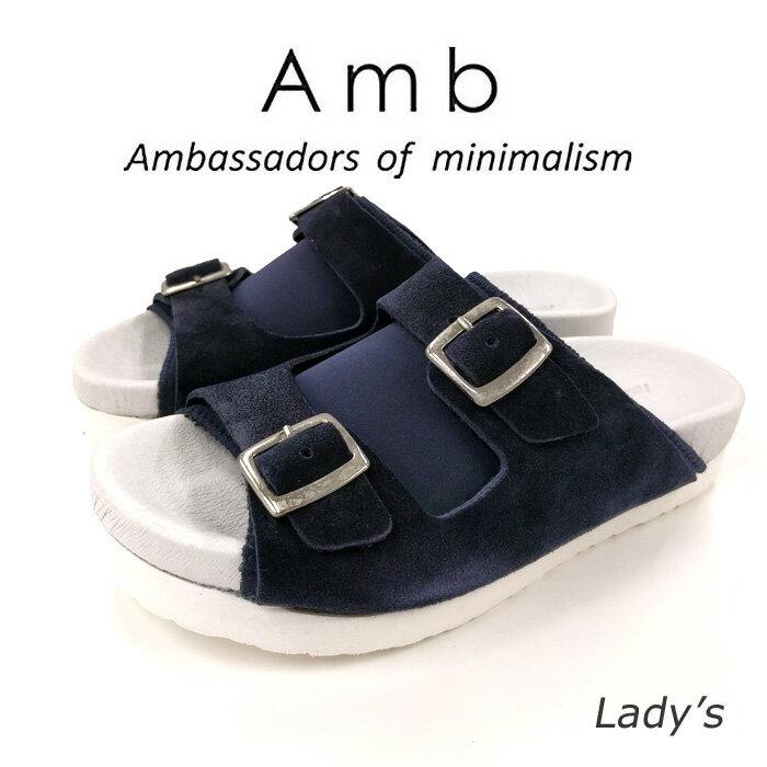【AMB Ambassadors of minimalism エーエムビー アンバサダーズ】PISSARROレディース レザー ベルト サンダル ダークネイビー/ホワイト【送料無料】【正規品】【02P05Nov16】