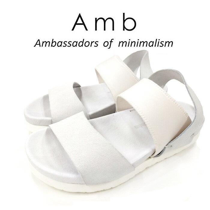 【AMB Ambassadors of minimalism エーエムビー アンバサダーズ】VASARI メンズ スエード ベルト サンダル ホワイト/ホワイト【送料無料】スウェード【正規品】【02P05Nov16】