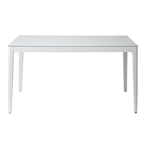 あずま工芸 ダイニングテーブル 幅135cmガラス天板 ホワイト【2梱包】 GDT-7671【ポイント10倍】