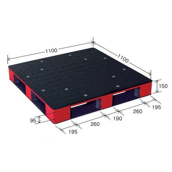 岐阜プラスチック工業 カラープラスチックパレット HB-D4・1111SC ブラック/レッド 片面使用 1100×1100mm【代引不可】