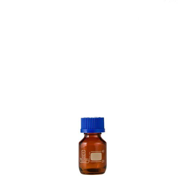 【柴田科学】ねじ口びん(メジュームびん) 茶褐色 青キャップ付 50mL【10個】