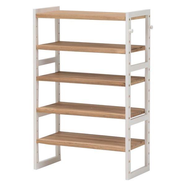 シューズラック 木製 可動棚/フック2個付き MSS-6311N アイボリー 【代引不可】