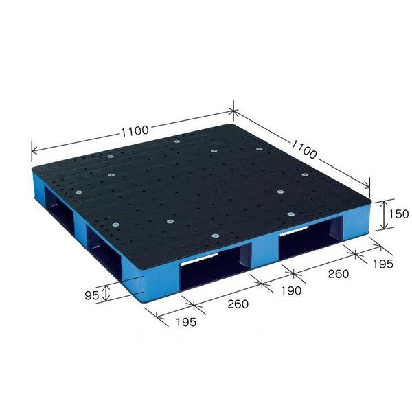 岐阜プラスチック工業 カラープラスチックパレット HB-D4・1111SC ブラック/ブルー 片面使用 1100×1100mm【代引不可】