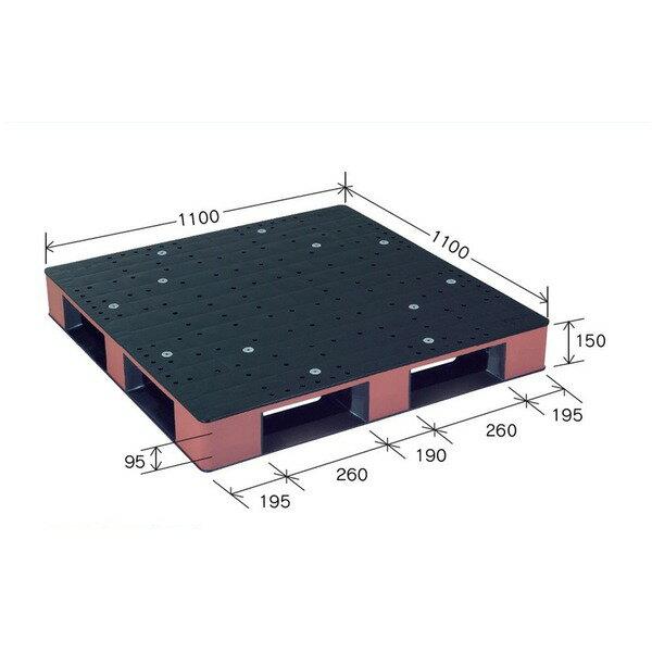 岐阜プラスチック工業 カラープラスチックパレット HB-D4・1111SC ブラック/ブラウン 片面使用 1100×1100mm【代引不可】