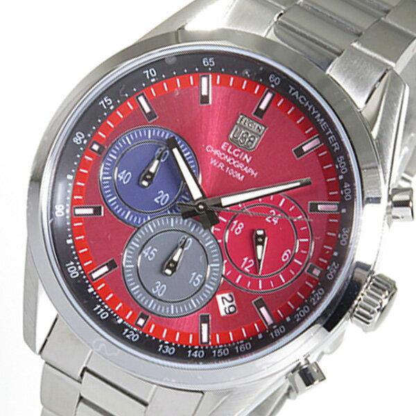 エルジン ELGIN クロノ クオーツ メンズ 腕時計 時計 FK1411S-R レッド【ポイント10倍】【楽ギフ_包装】
