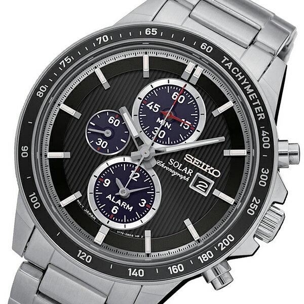 セイコー SEIKO クロノ ソーラー クオーツ メンズ 腕時計 時計 SSC435P1 ブラック【ポイント10倍】【楽ギフ_包装】